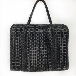 Elliot Lucca Black Leather Basket Weave Hand Bag